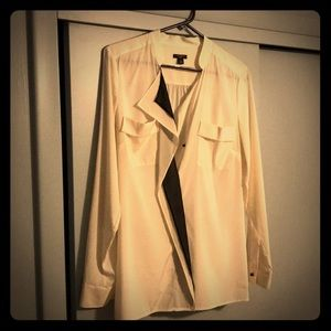 Ivory and Black Ann Taylor Silk Blouse